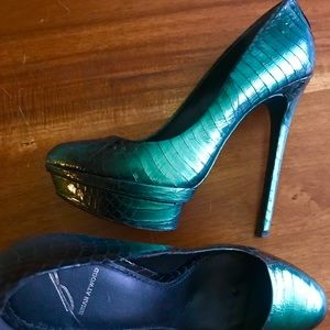 BRIAN ATWOOD Iridescent Green Python Stiletto